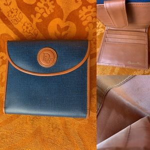 Vintage blue and tan faux leather wallet
